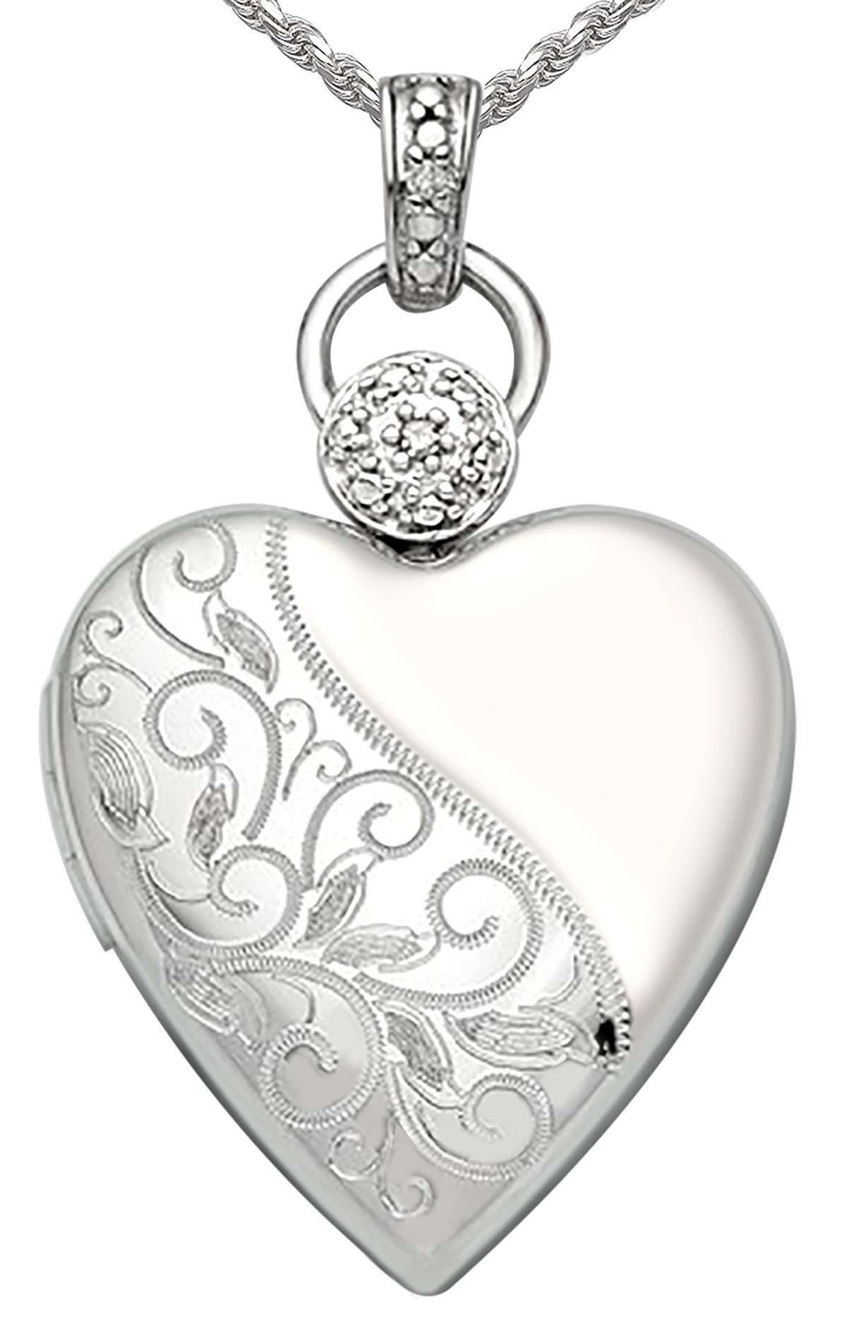 Ladies 0.8in 0.925 Sterling Silver 2 Photo Engraved Floral Heart Locket Pendant 3.3mm Rope Necklace, 24''