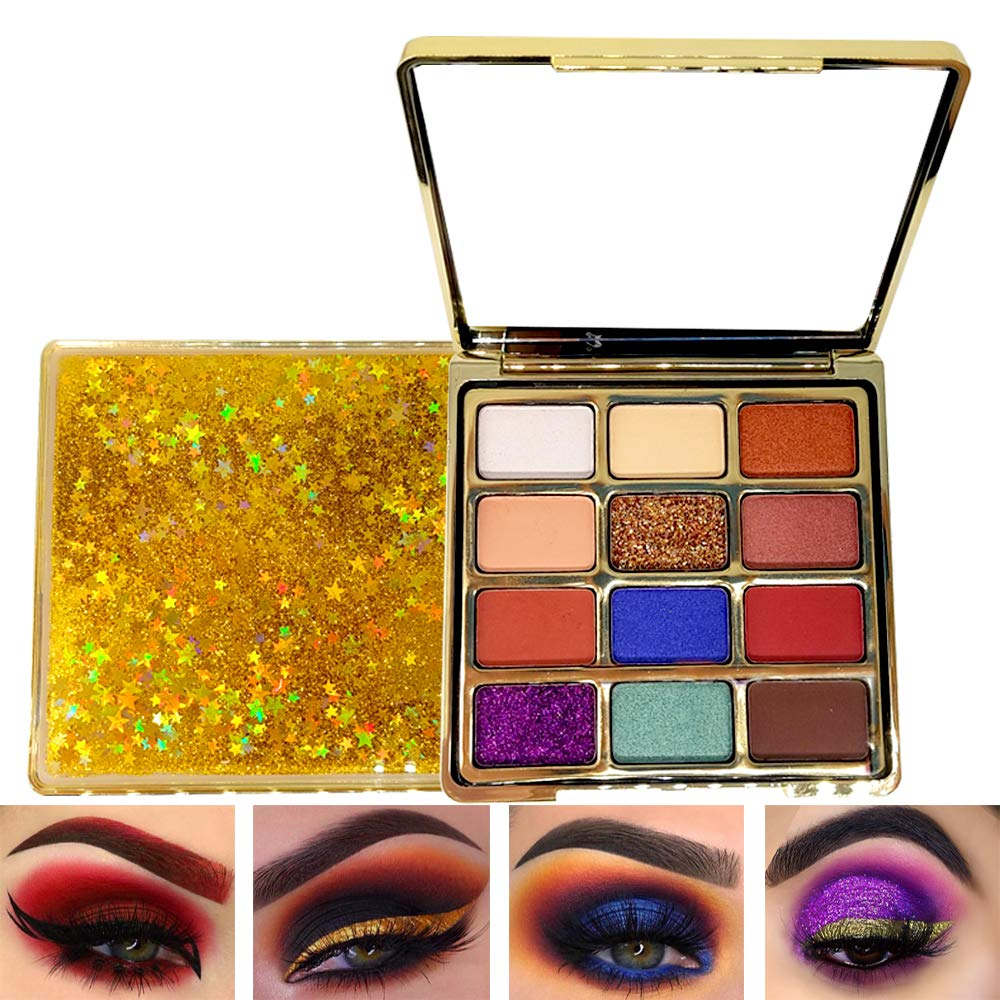 Eye Shadow Makeup Palette With Mirror, Bright Matte Shimmer Glitter Eyeshadow Palette 12 Colors (Quicksand Case)
