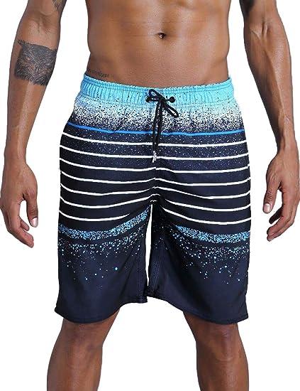 eab109ee5b QRANSS Men's Beachwear Summer Holiday Swim Trunks Quick Dry Striped Blue
