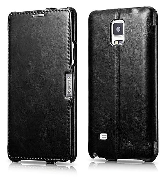 ICARER Luxus Tasche für Samsung Galaxy Note 4 / SM-N910 / Case mit Echt-Leder Außenseite/Schutz-Hülle aufklappbar/Ultra-Slim