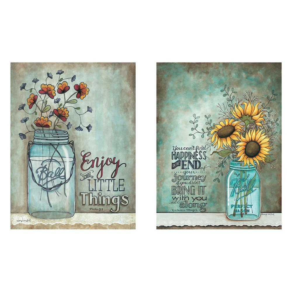 Two 12x16 Wall Art Prints Ball Mason Jars Sunflowers Poppies