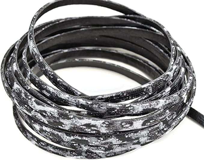 5 mm Flat cord imitation leather black 1 m