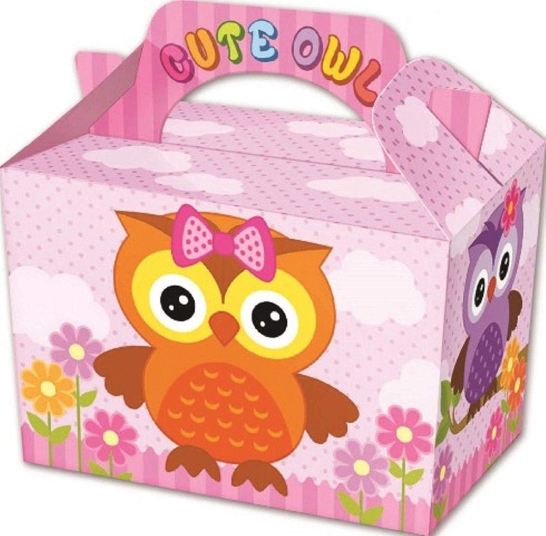 10 cajas de regalo de Navidad para fiestas, comidas o fiestas, color Pink Cute Owl Pack of 80: Amazon.es: Oficina y papelería