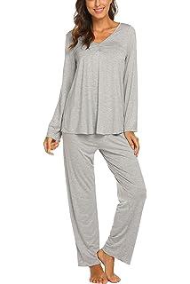 9517c6b89fbafa MAXMODA Damen Einfarbige Pyjama Set, Zweiteiliger Modal Langarm Schlafanzug