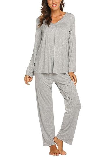 7915120277e95 MAXMODA Pyjama Femmes Coton Hiver Manche Longue Vêtements de Nuit Chaud  pour Toutes Les SaisonsHouse Suit