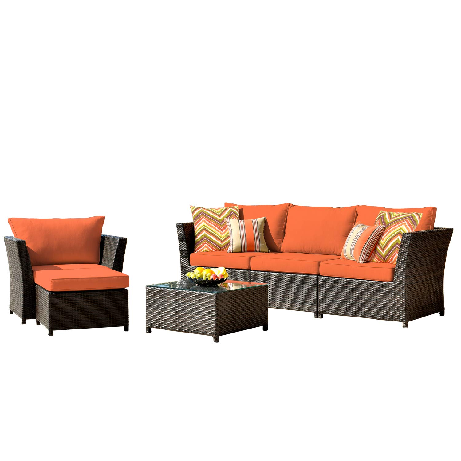 ovios Patio Furniture Set, Backyard Sofa Outdoor Furniture 6 Pcs Sets,PE Rattan Wicker sectional with 2 Pillows and Coffee Table, No Assembly Required,Brown (6 Piece, Orange red)