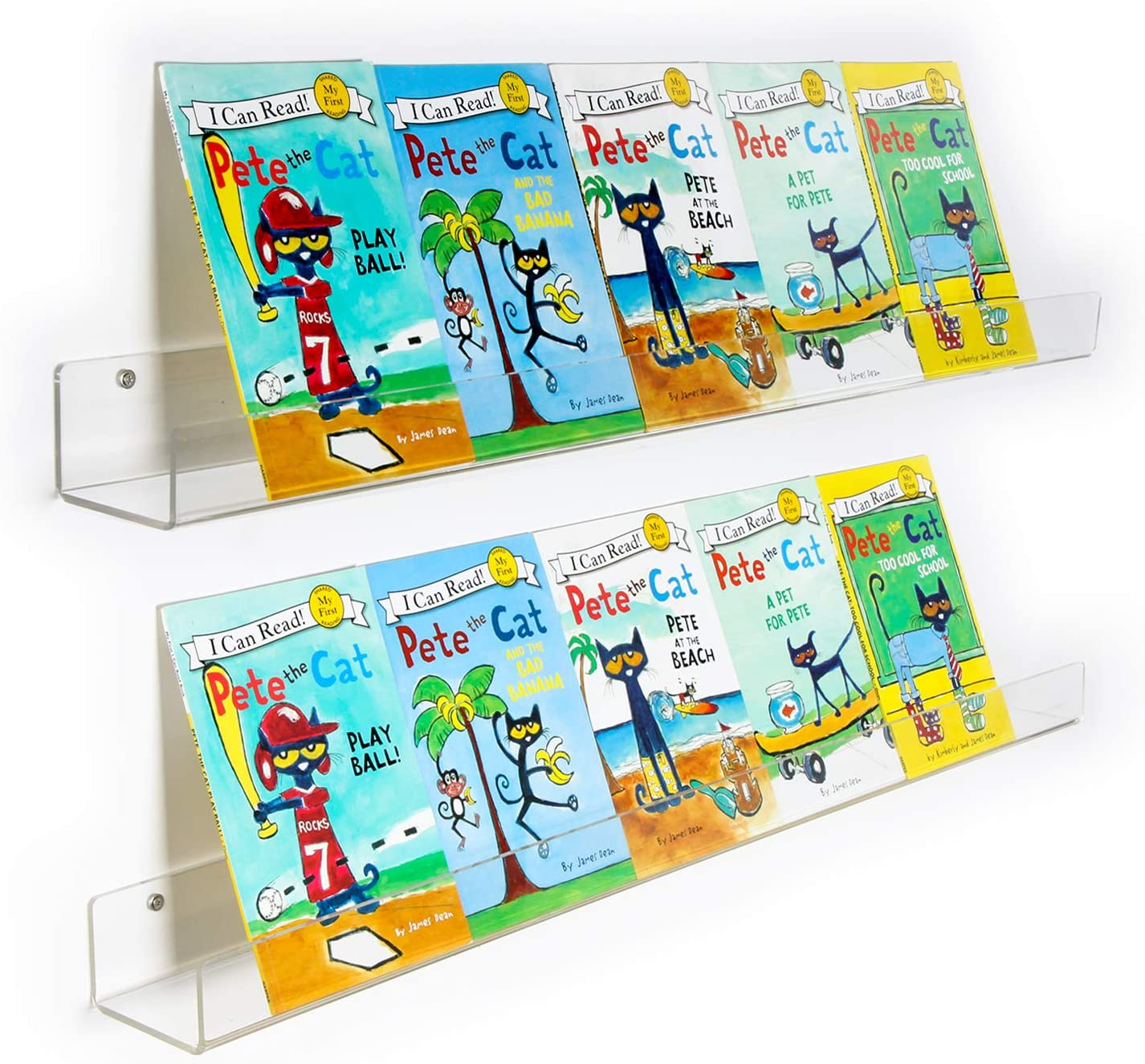 NIUBEE Kids Acrylic Floating Bookshelf 36 Inch,2 Pack,Clear Invisible Wall Bookshelves Ledge Book Shelf,50/% Thicker with Free Screwdriver