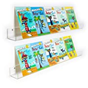 NIUBEE Kids Acrylic Floating Bookshelf 36 Inch,2 Pack,Clear Invisible Wall Bookshelves Ledge Book Shelf,50% Thicker with Free Screwdriver