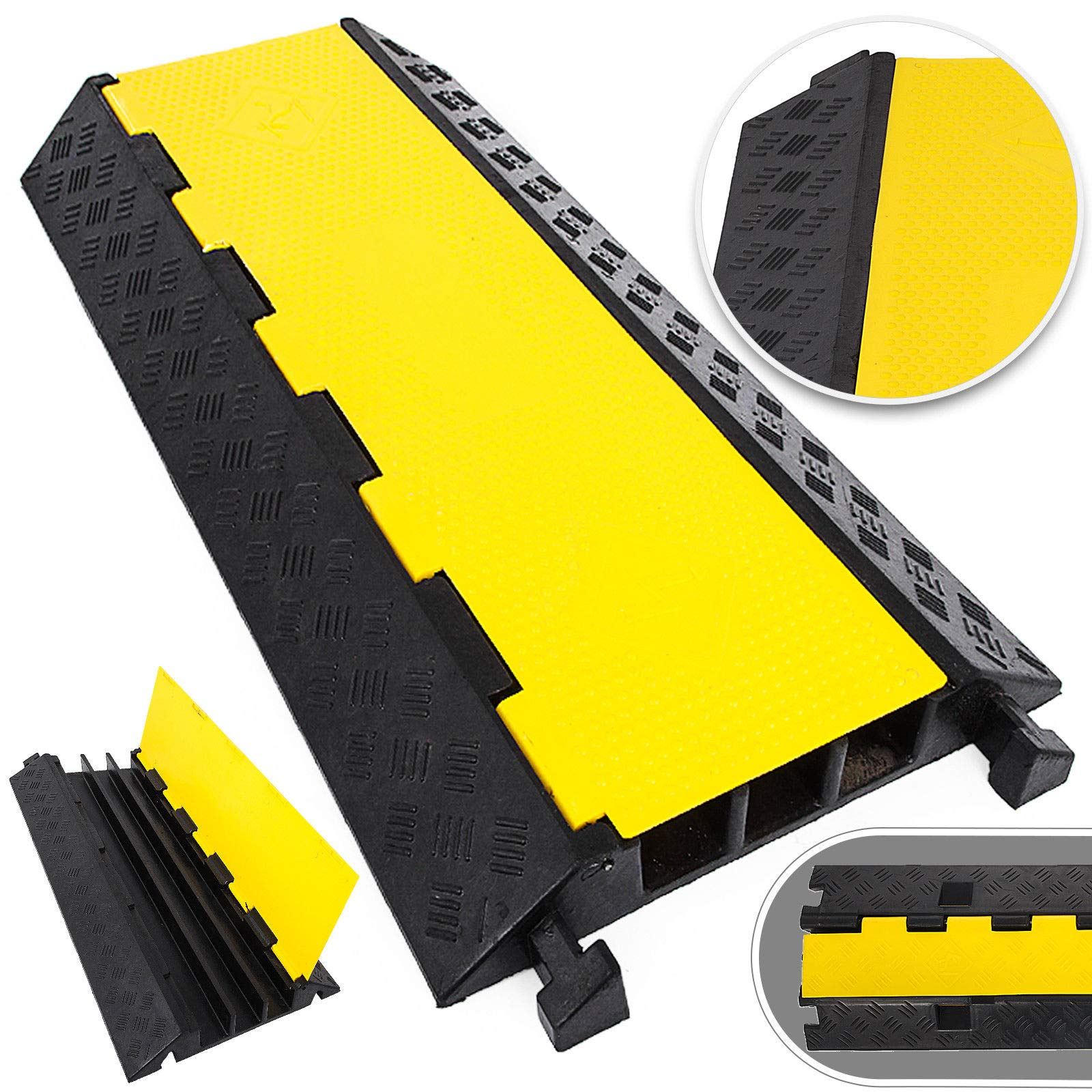 Large 3-Channel Cable Protectors Ramp Heavy Duty 20 Tons Load Capacity Rubber Speed Bumps for Driveway Hose Outdoor Wire Power Lines Electrical Cord Extension Cord Cover Protective Ramps