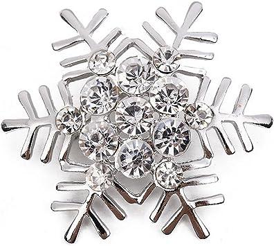 Diamond Timesuper Women Rhinestone Christmas Snowflake Brooch Pin Lady Brooch Gift,Gold