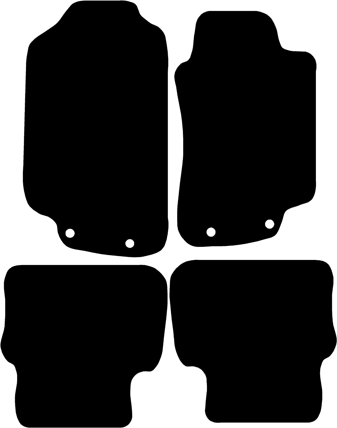 Black with Black Trim Connected Essentials Tailored Heavy Duty 5mm Rubber Mats for 2001-2007