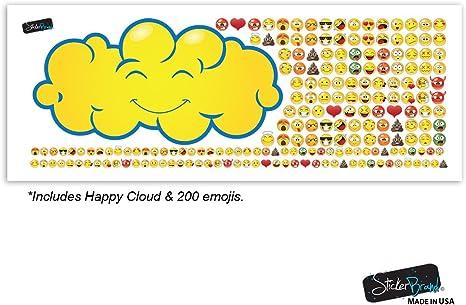 Stickerbrand Feliz nube lloviendo 200 emojis pegatina de pared calcomanía favores de gran partido para la habitación de los niños o el teclado iphone/android Amarillo: Amazon.es: Hogar