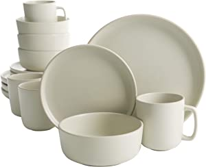 Gibson Home Zuma 16 Piece Round Kitchen Dishes, Plates, Bowls, Mugs Dinnerware Sets, Service for Four (16pcs), Cream