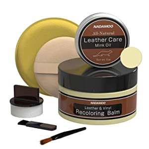 NADAMOO Cream Leather Recoloring Balm With Mink Oil Leather Conditioner, Leather Reapair Kits For Couches,Car seats, leather Dye Furniture repair cream for Sofa, shoes, boots, Bags, Scratch Repair