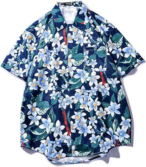 QSCESZ Camisas De Playa para Hombre Casual Hip Hop Streetwear Summer Island Moda Hip Hop Camisas Camisetas De Manga Corta: Amazon.es: Deportes y aire libre