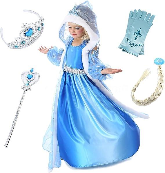 Monissy Niña Capa Vestido de Princesa Elsa Reina de Las Nieves ...
