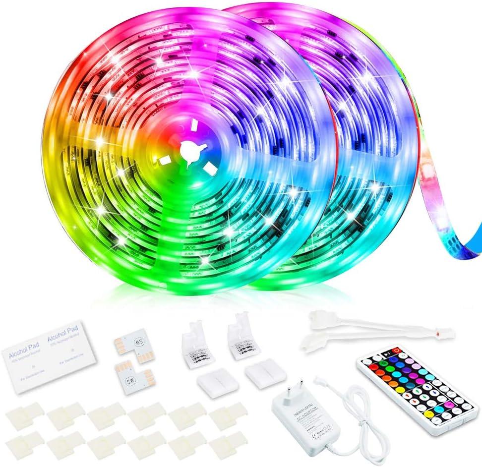 Tira LED, RGB 10M Luces LED Habitación Que Cambian De Color Con 44 Teclas Control Remoto RF Luz De Ambiente Para el Hogar Dormitorio Habitación TV Coches Fiesta Festival Boda