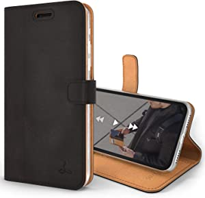 Snakehive Vintage Wallet for Apple iPhone Xs Max || Real Leather Wallet Phone Case || Genuine Leather with Viewing Stand & 3 Card Holder || Flip Folio Cover with Card Slot (Black)