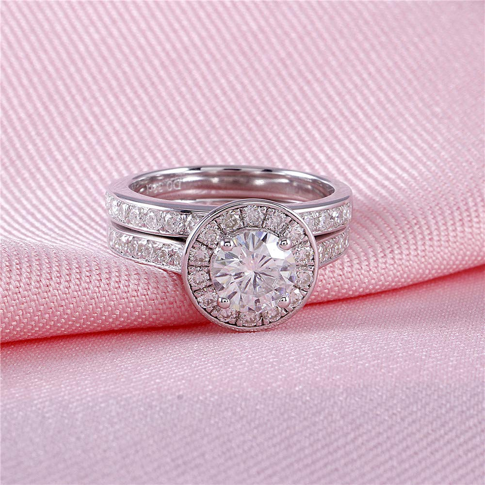 DOVEGGS Platinum Plated Silver Center 1ct 6.5mm H Near Colorless ...