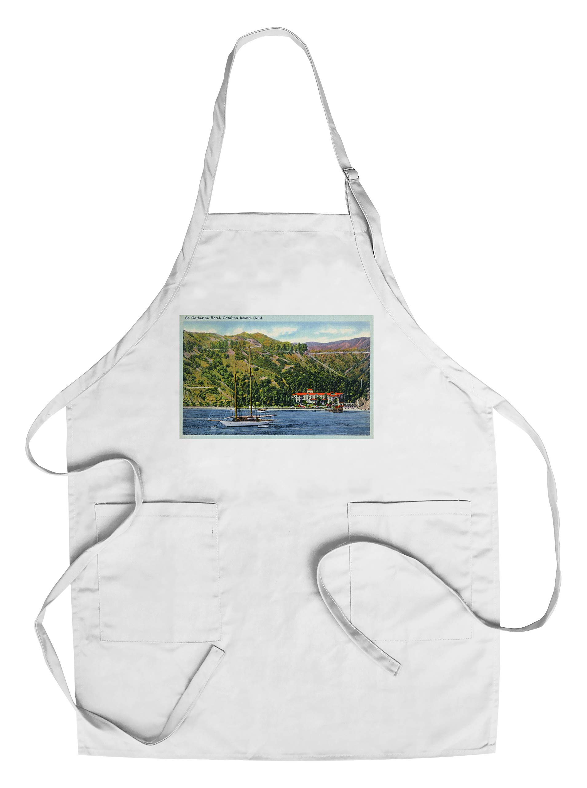Santa Catalina Island, California - St. Catherine Hotel View from Water (Cotton/Polyester Chef's Apron)