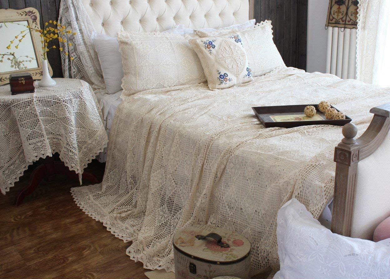 Hughapy Vintage American Cotton Bedding Thread Imitation of Hand Crochet Hook Flower Bed Cover Beige Lace Bed Spread Blanket Pillowcases Queen 3-Piece