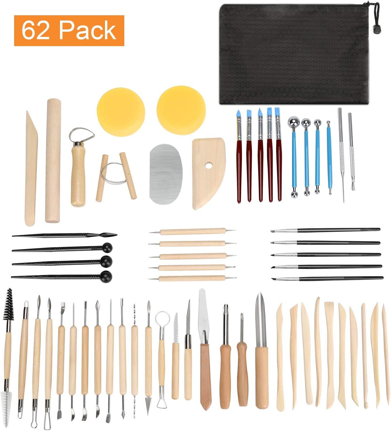 Blisstime Set of 62 Clay Tools,Pottery Sculpting Tool and Supplies, Wooden Handle and Metal Head Pottery Carving Tool Kit