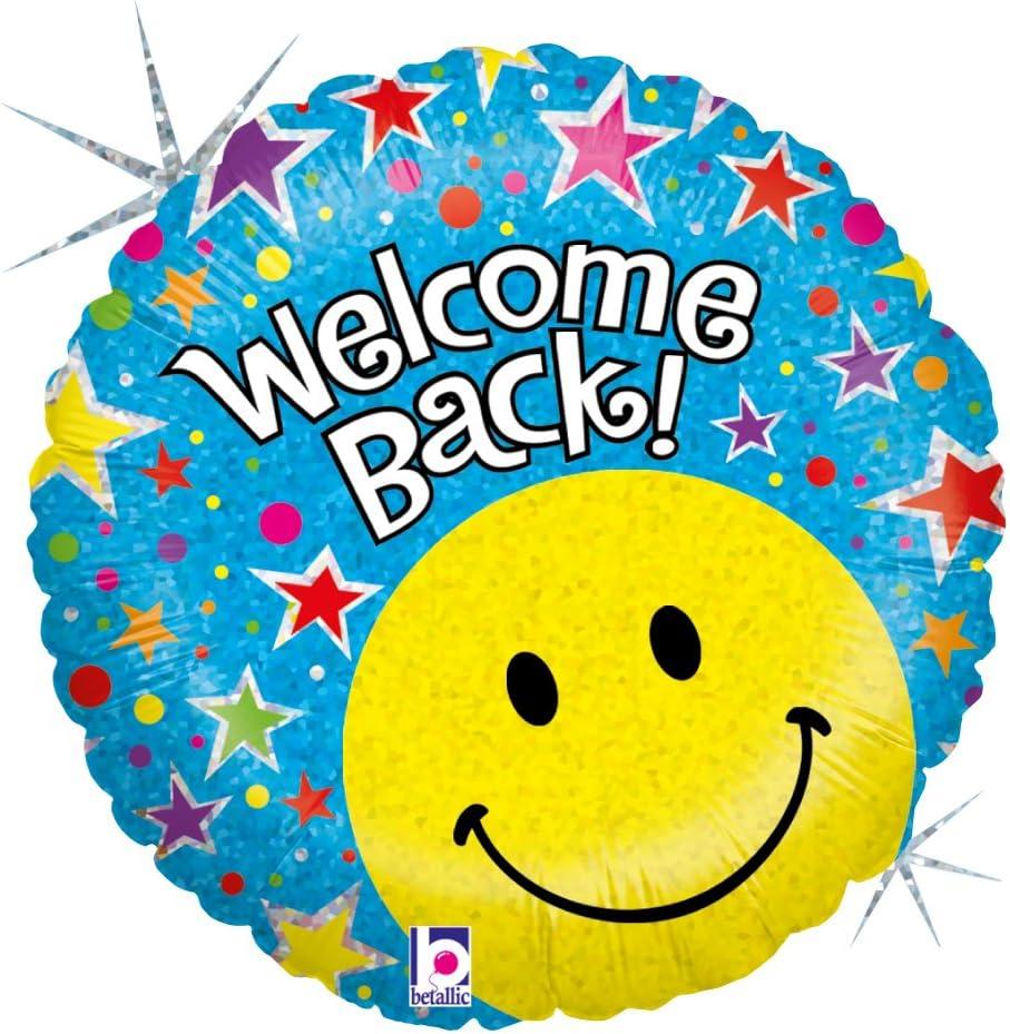 """Betallic Wel e Back Smiley Foil Balloon 18"""" Multicolor"""