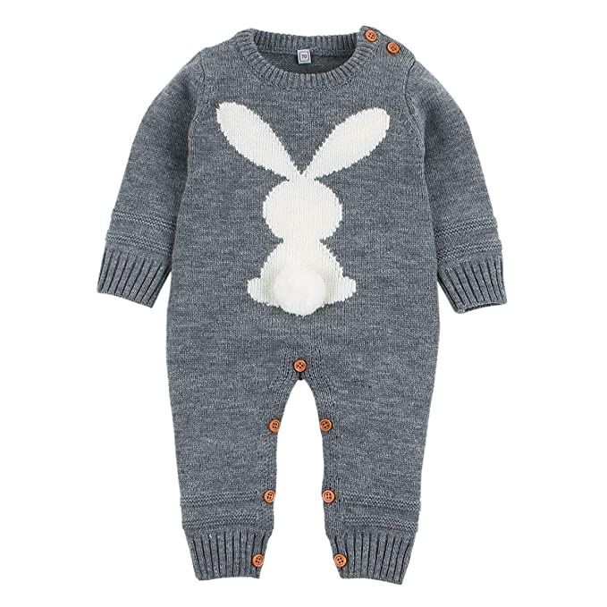 fdfe2afee Baby Girls Boys Rompers Cute Rabbit Bunny Knitted Long Sleeve Jumpsuit One  Piece Autumn Winter Kids Clothing: Amazon.co.uk: Clothing
