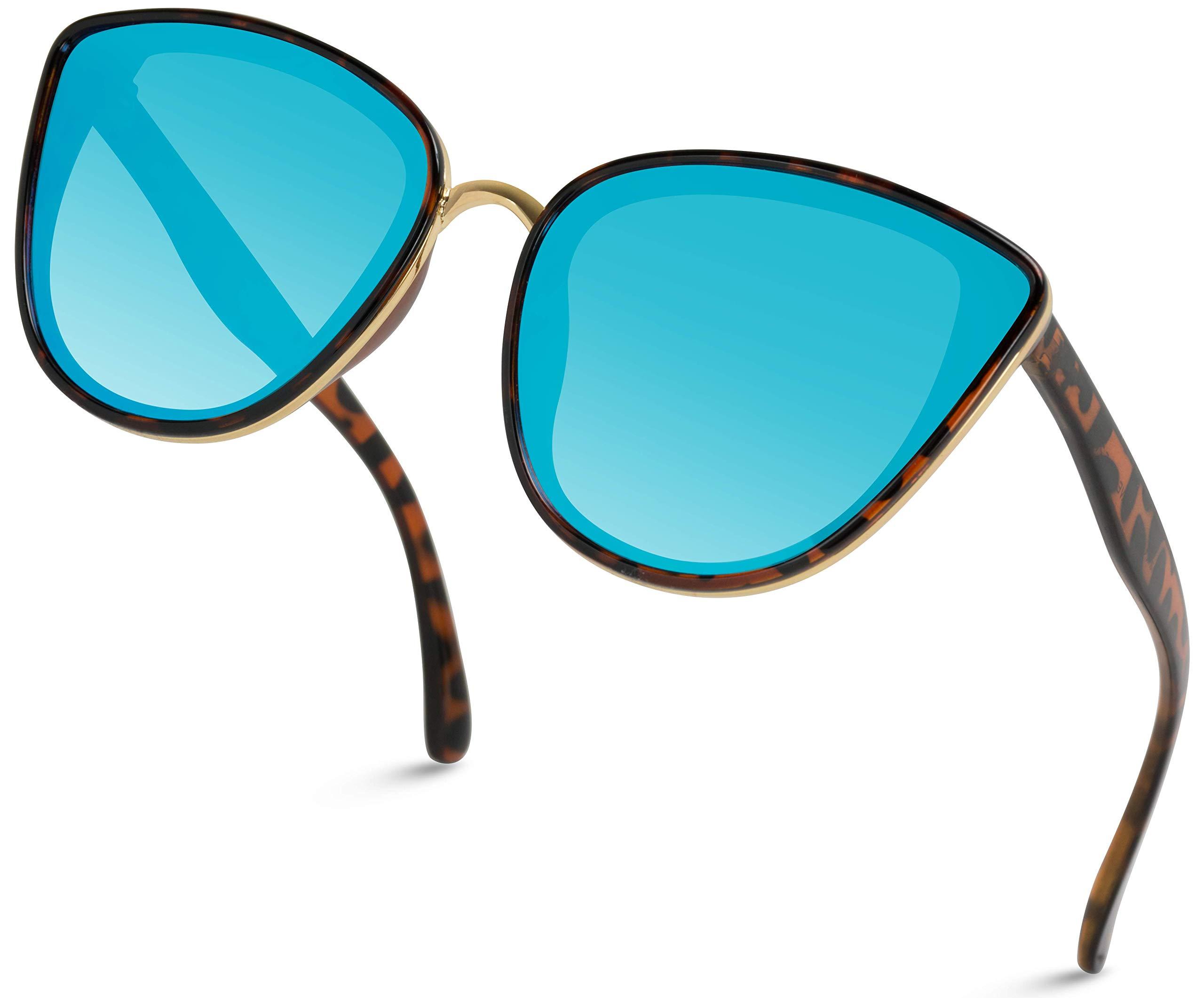 WearMe Pro - Women Full Lens Elegant Mirrored Lens Cat Eye Sunglasses (Tortoise Frame/Mirror Blue, 60) by WearMe Pro