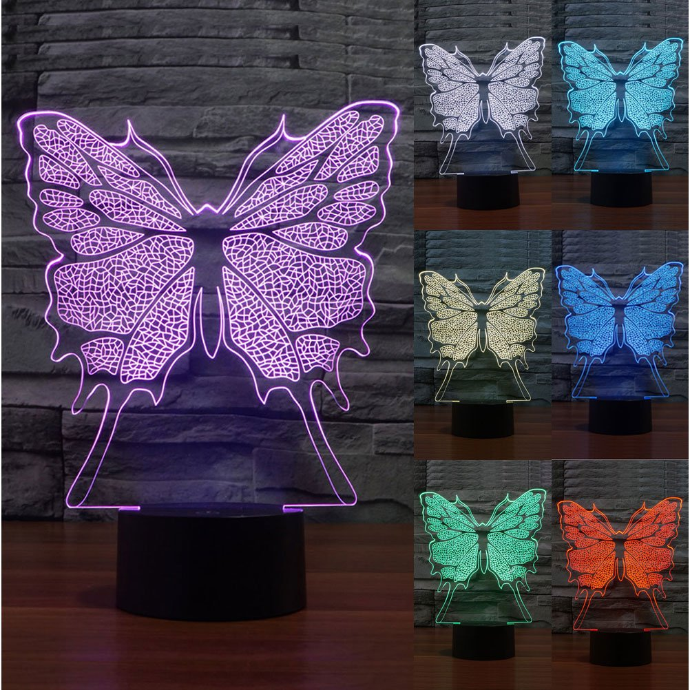 ZLTFashion 3D Visual Optical Illusion Colorful LED Table Lamp Touch Cute Animal Night Light Christmas Prank Gifts Romantic Holiday Creative Gadget (Butterfly)