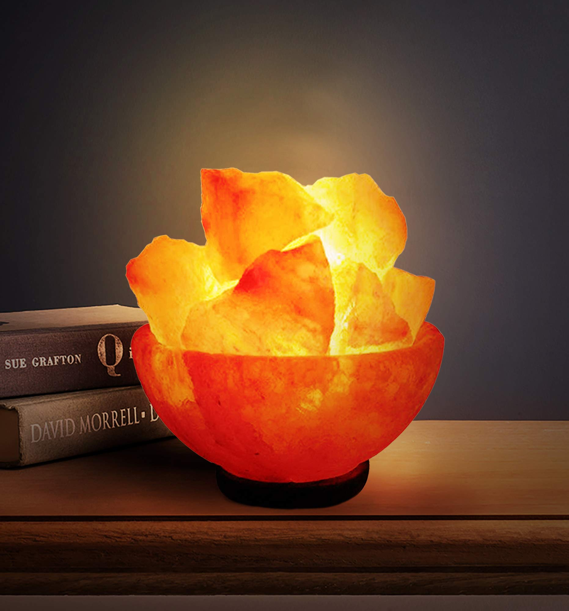 A-STAR(TM) Natural Himalayan Salt Fire Bowl Lamp with Rough Salt Chunks & Dimmable Switch
