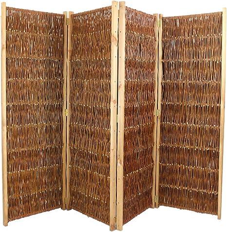 Biombo de jardín (mimbre, 150 cm de altura, anchura de 240 cm, 4 partes): Amazon.es: Jardín