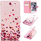 iGrelem® Wallet Leather Case for iPhone 6 / 6s [with Free Tempered Glass Screen Protector], Dandelion, Love Heart, Rose, Butterfly, Colorful Pattern PU Leather Case for iPhone6 iPhone6s, Apple iPhone 6/6s 4.7 Inch Protective Cover (Love Heart #2, Pink)