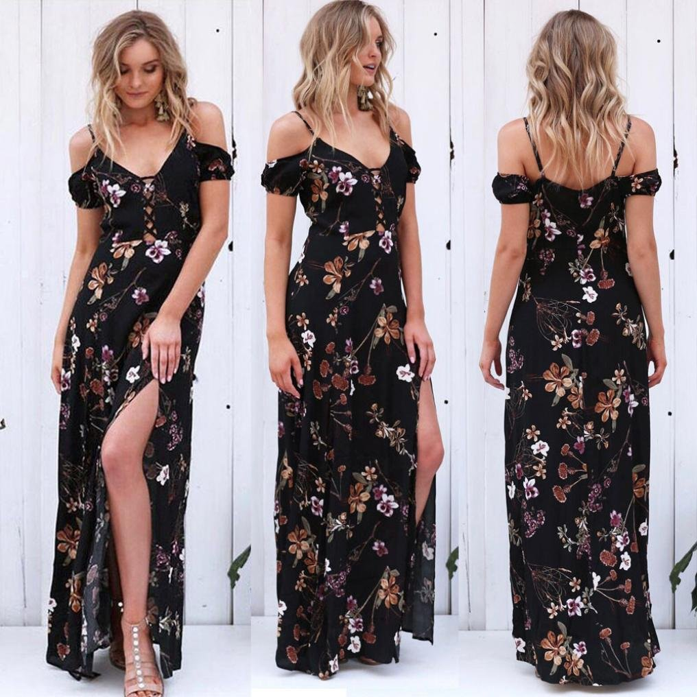 Womens Summer Halter V Neck Bandage Vintage Boho Long Maxi Evening Party Beach Dress Floral Sundress (M, Black)