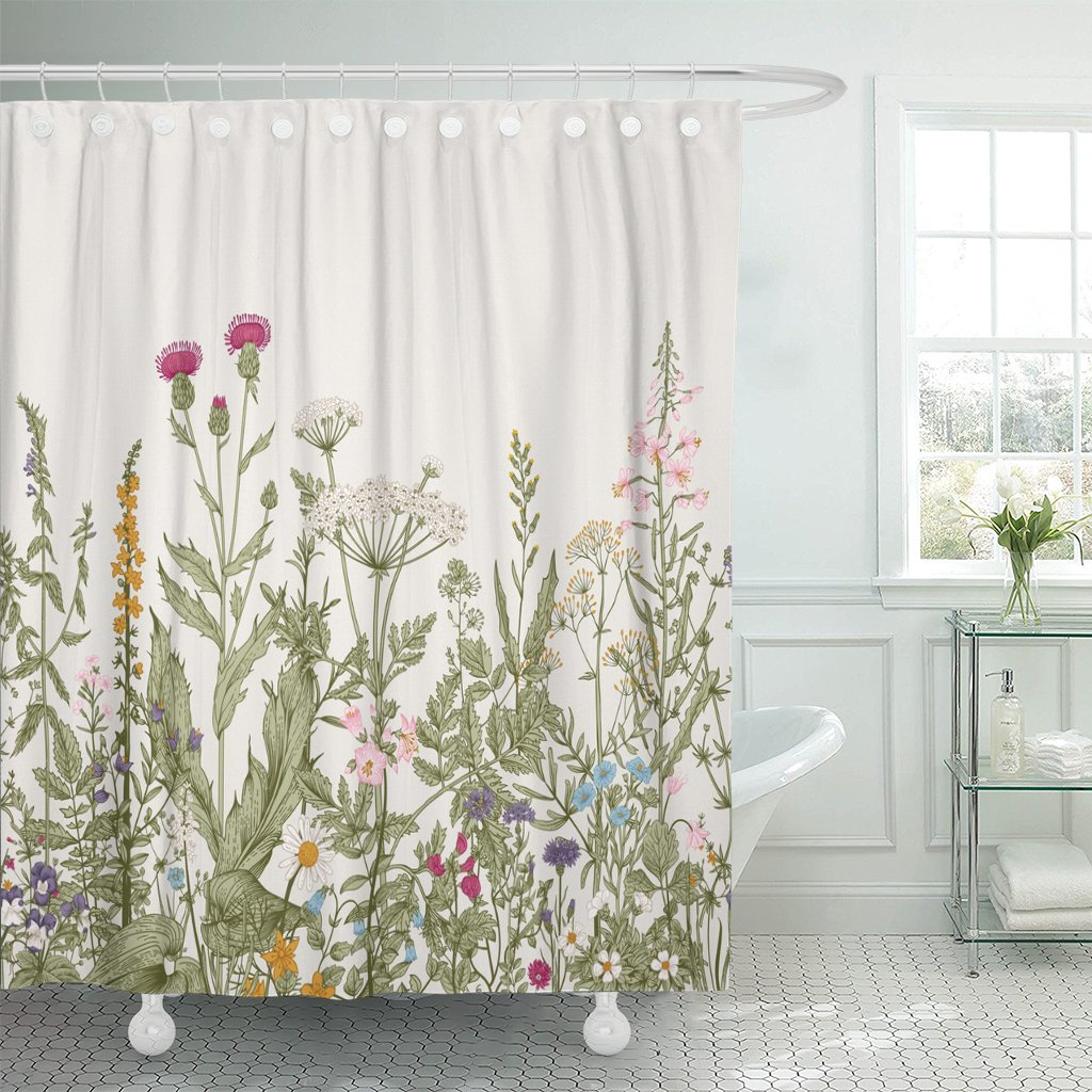 TOMPOP Shower Curtain Vintage Floral Border Herbs And Wild Flowers Botanical Engraving Style Colorful Field Vegetation Waterproof Polyester Fabric 72 X