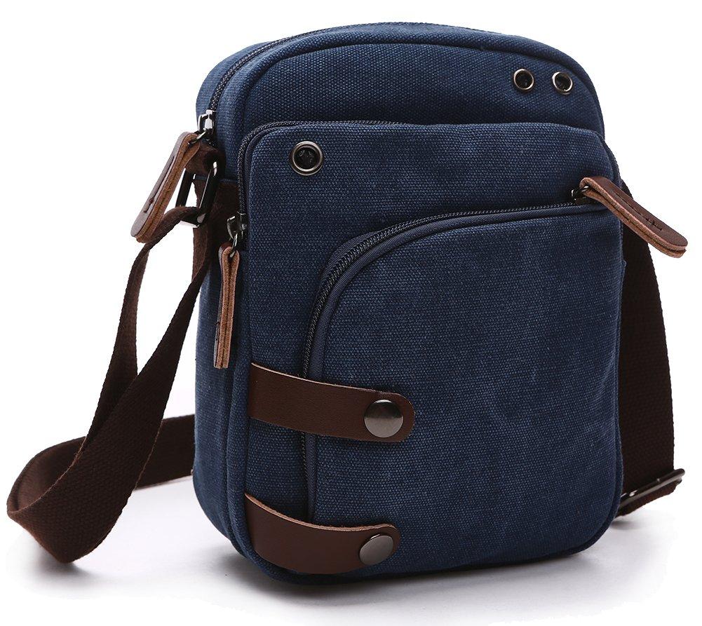 Collsants Small Vintage Canvas Travel Purse Mini Shoulder Bags Messenger Crossbody Handbag