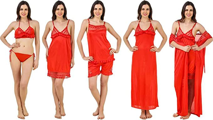 1e273211b Image Unavailable. Image not available for. Colour  Time Trader Collection  Women s Satin Nightwear Set of 6 ...