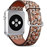 Compatible with Apple Watch Series 5, 4, 3, 2, 1 (Big Version 42/44 mm) Leather Wristband Bracelet Replacement Accessory Band + Adapters - Doodle Dogs Cats