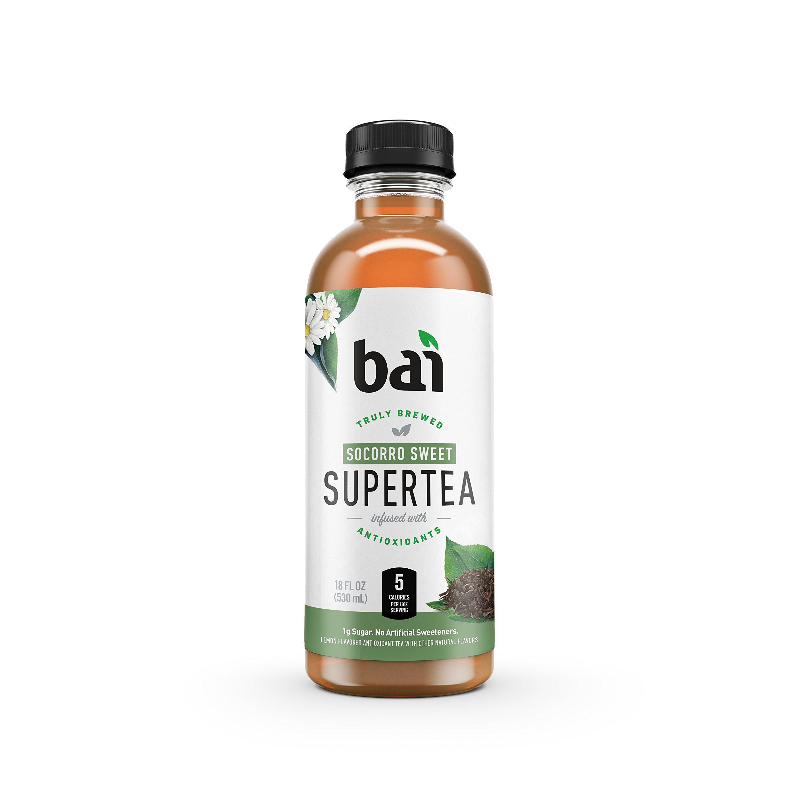 Bai Iced Tea, Socorro Sweet, Antioxidant Infused Supertea, Crafted with Real Tea (Black Tea, White Tea), 18 Fluid Ounce Bottles, 12 count by BAI