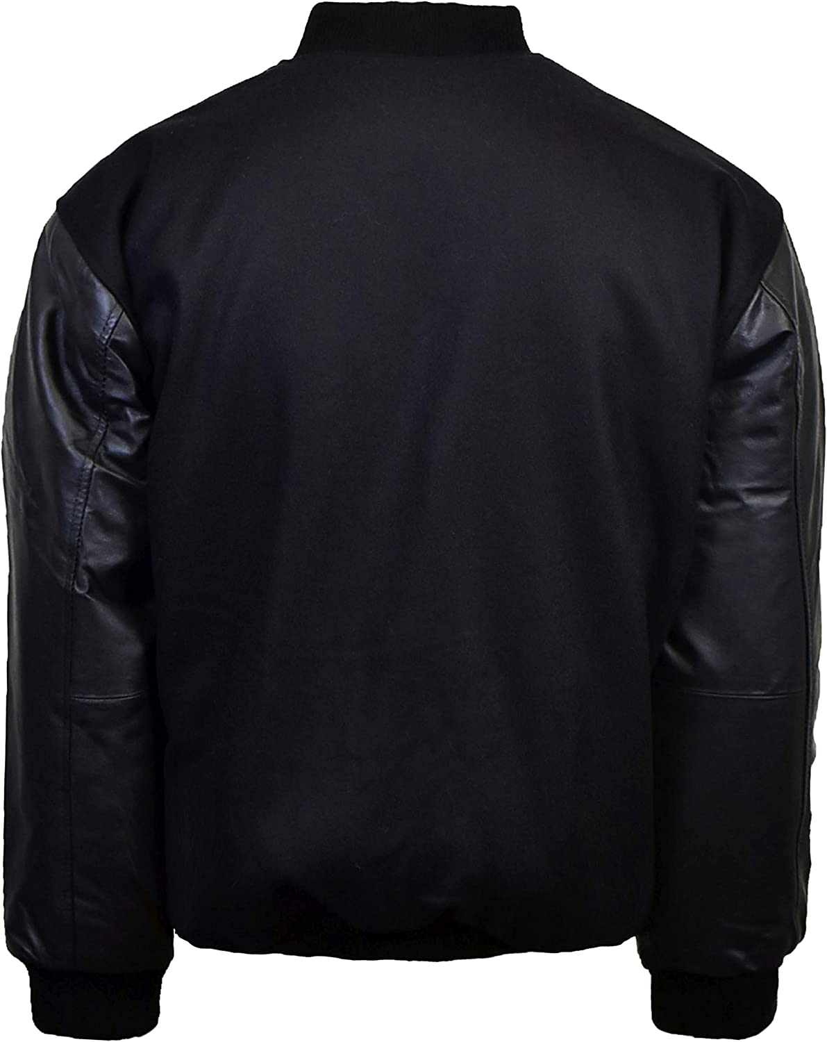 Victory Outfitters Mens Wool Blend Letterman Jacket with Genuine Leather Sleeves