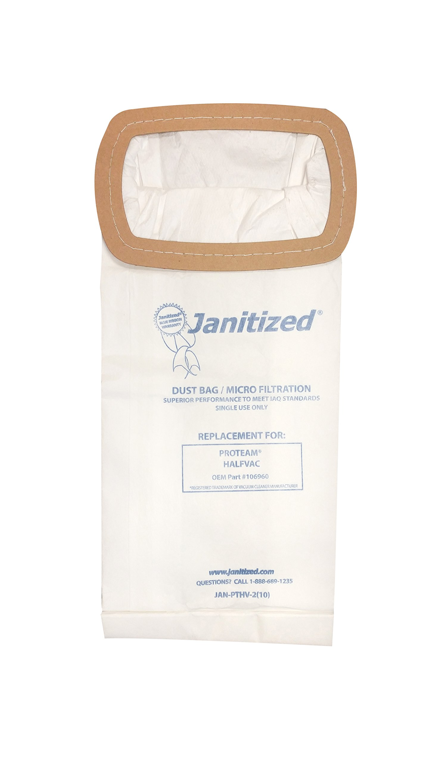 Janitized JAN-PTHV-2(10) Premium Replacement Commercial Vacuum Paper Bag for ProTeam Half Vac Vacuum Cleaners, OEM#106960 (Pack of 10)