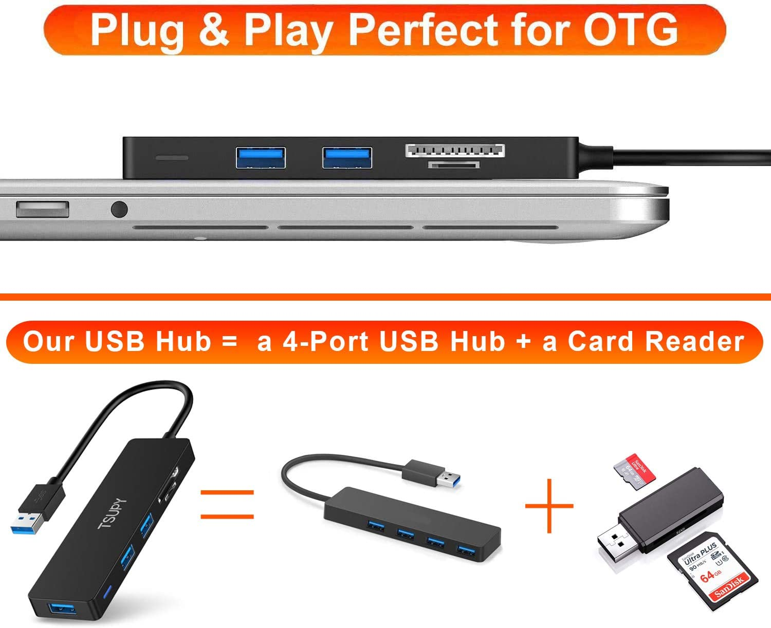 3 Port USB 2.0 Hub USB 3.1 Type C Cable OTG SD//TF Card Reader For iMac for MacBook #H029# JohnnyBui