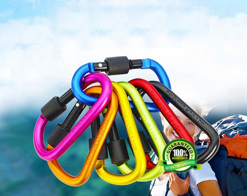 Rv Pack of 9 Camping D Shape Spring-loaded Gate Aluminum Alloy Carabiner for Home Dr.JONY Carabiner Keychain Fishing Hiking Traveling and Keychain ideal for Outdoor