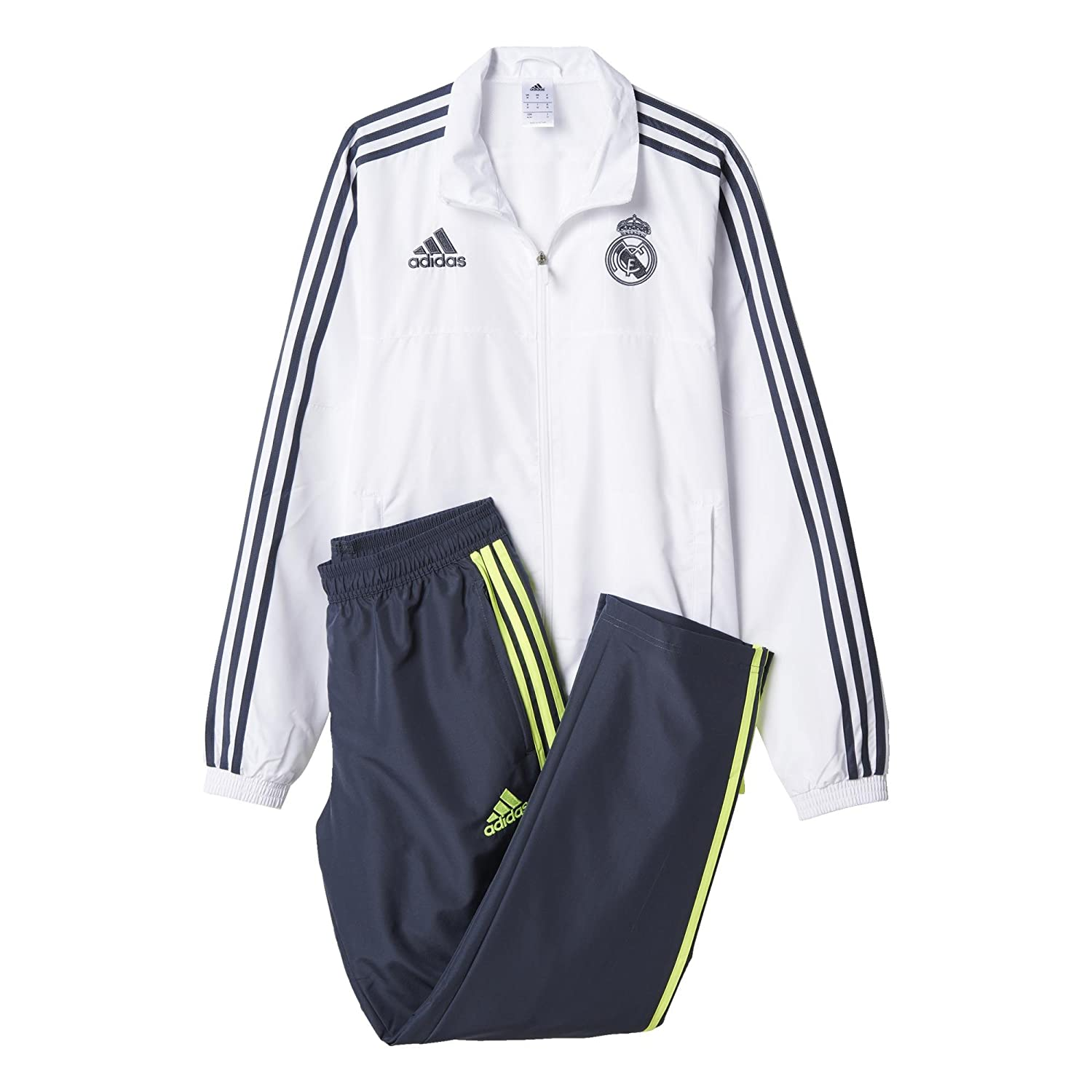 adidas, felpa uomo real madrid, bianco (whitedeepest spacesolar yellow), s