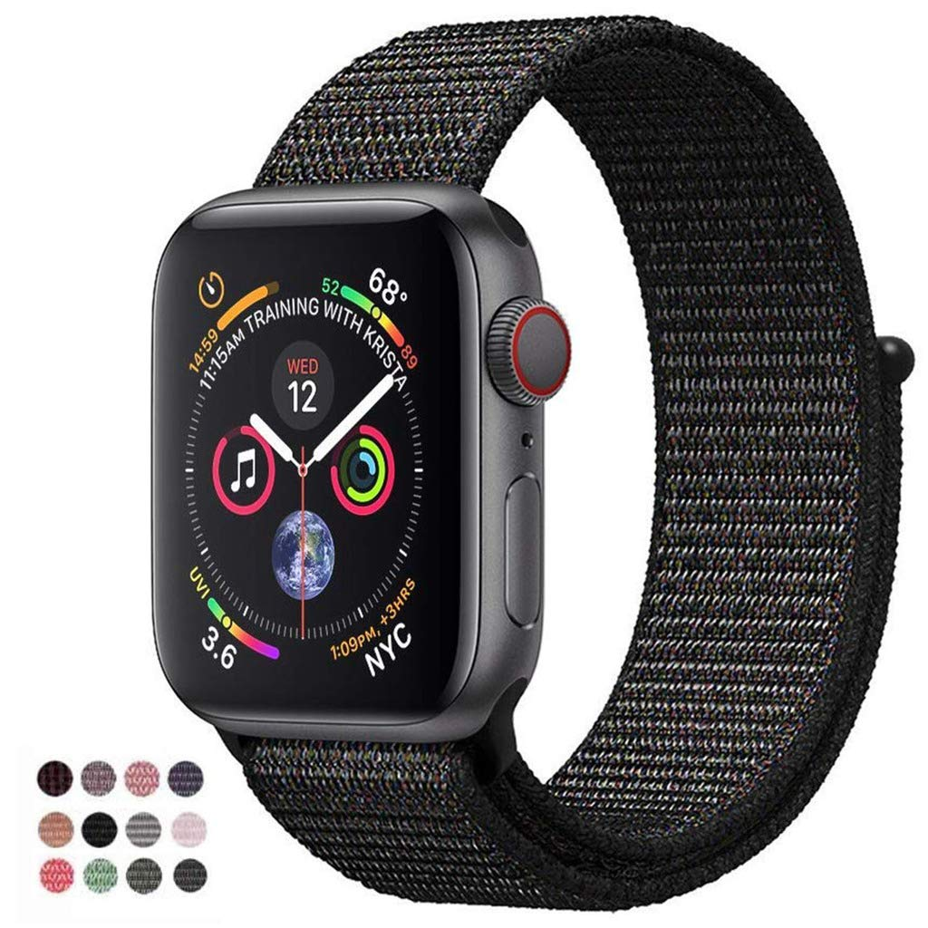VATI Band Compatible with Apple Watch Band 38mm 42mm 40mm 44mm Soft Breathable Nylon Sport Loop Band Adjustable Wrist Strap Replacement Band Compatible with iWatch 2018 Apple Watch Series 4 3 2 1