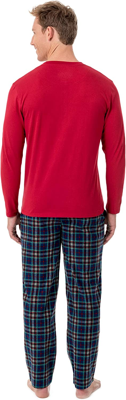 CHAPS Mens Jersey Henley and Microfleece Pajama Set Pajama Set
