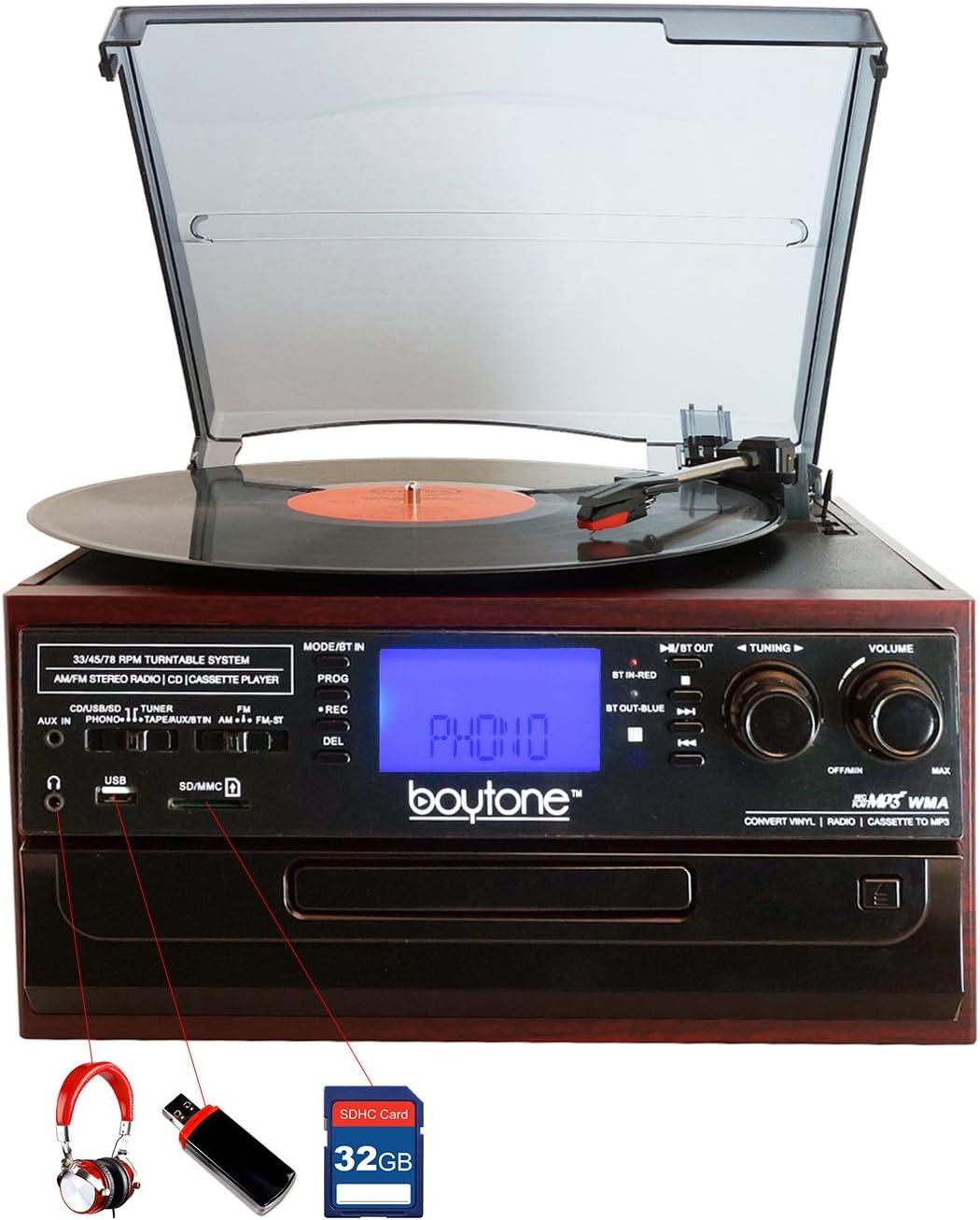Boytone BT-22C, Bluetooth Record Player Turntable, AM/FM Radio, Cassette, CD Player, 2 Built in Speaker, Ability to Convert Vinyl, Radio, Cassette, CD ...