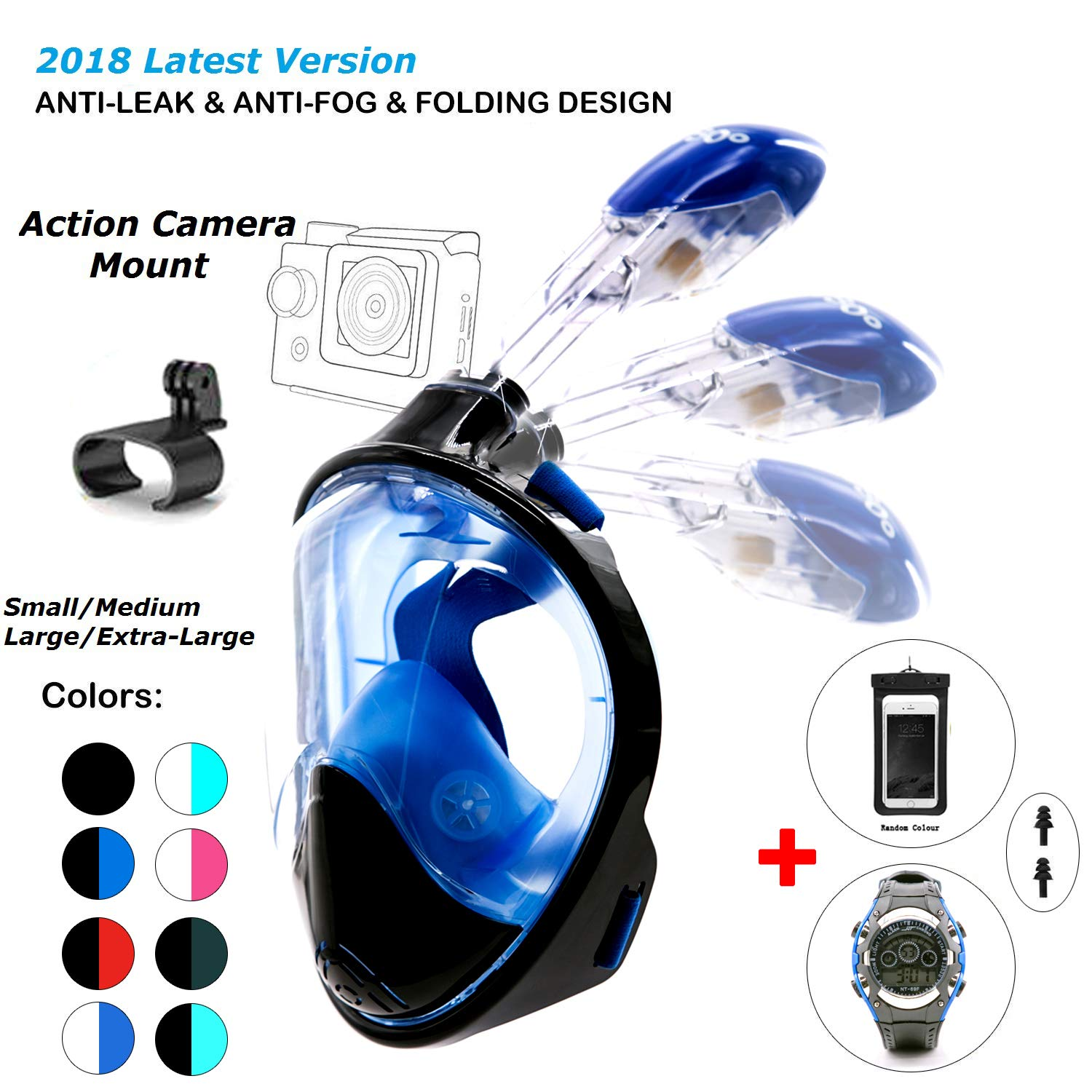 180° Snorkel Mask View for Adults and Youth. Full Face Free Breathing Folding Design.[Free Bonuses] Cell Phone Universal Waterproof Case and 30m Waterproof Watch (Black&Blue, Small/Medium)