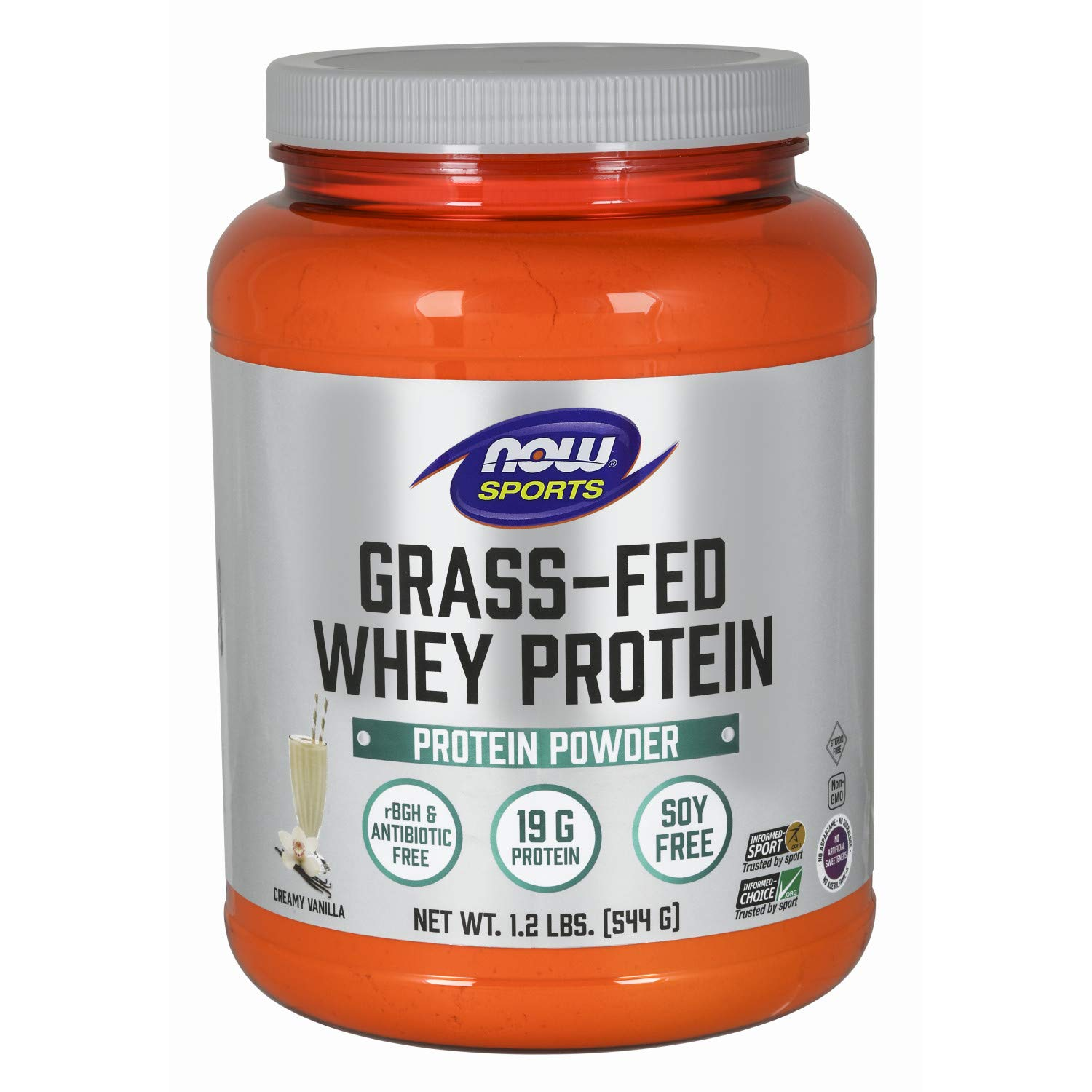 Now Sports Nutrition, Grass-Fed Whey Protein Concentrate, Creamy Vanilla Powder, 1.2-Pound by NOW Foods