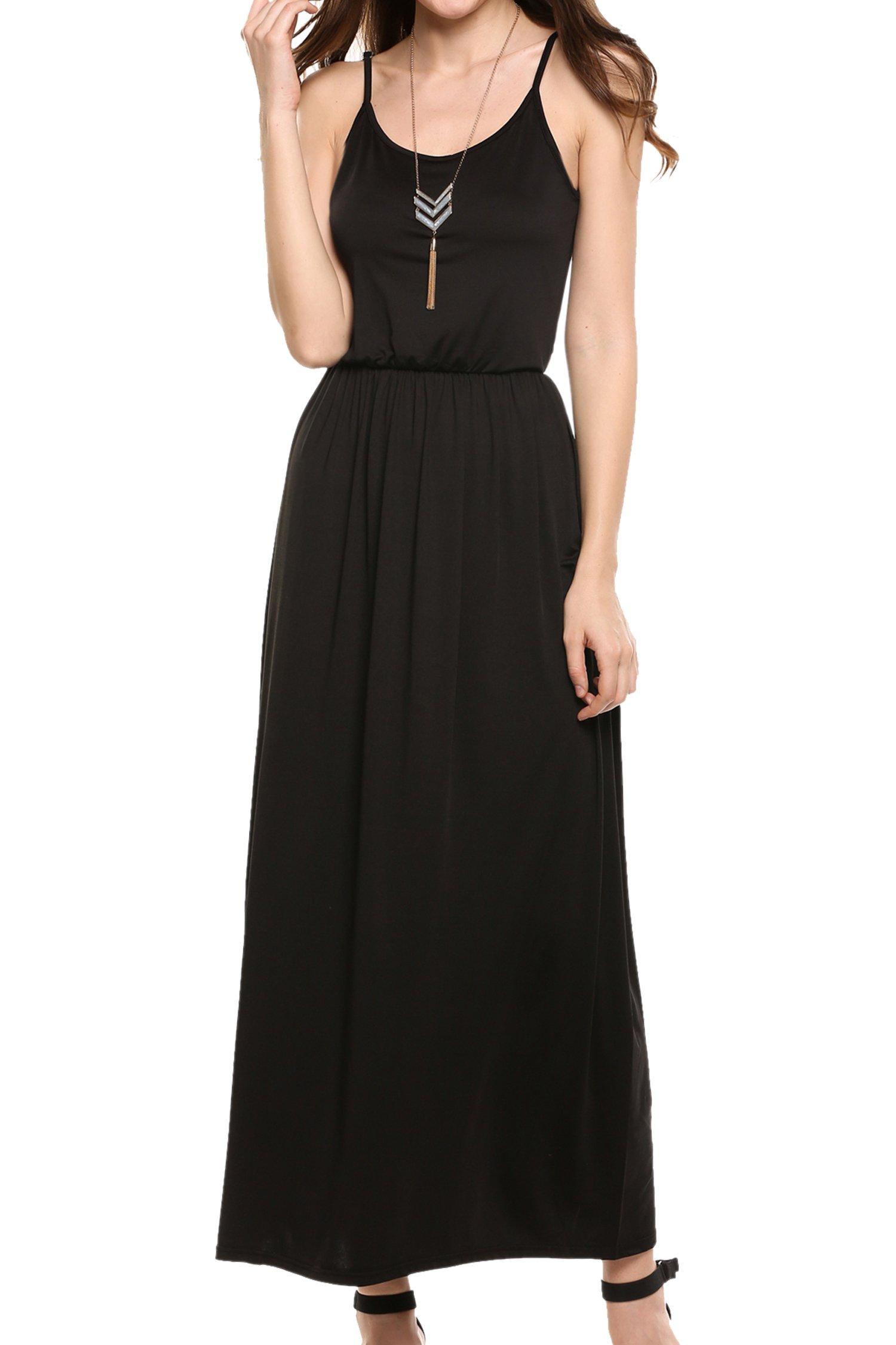 Meaneor Women's Adjustable Slip Dress Spaghetti Strap Long Maxi Dresses Black S